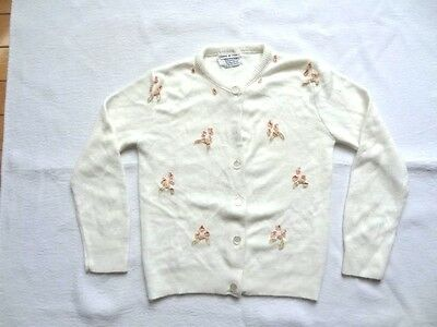 "Vintage Estate 1950s Off White ""Knitown"" Interlock Hi Bulk Orlon Child Sweater S"