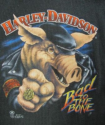 RARE Vintage 1987 Harley Davidson 3d Emblem Bad To The Bone Hog T Shirt Thermal