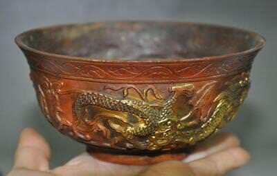 Collect Old Chinese palace bronze gilt double dragon beast statue bowl cup
