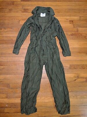 Vintage US Army Coveralls Mens Cotton Sateen Type 1 OD Green Size Small 1983