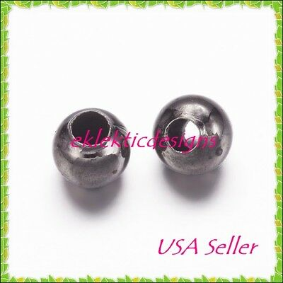 2mm 500 pc Gunmetal Black Plated Metal Spacer Beads Jewelry Findings Necklace