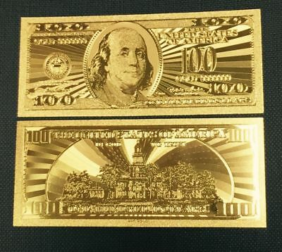 Beautiful .999 24kt Pure Gold Plated Polyester US 100 Dollar Banknote