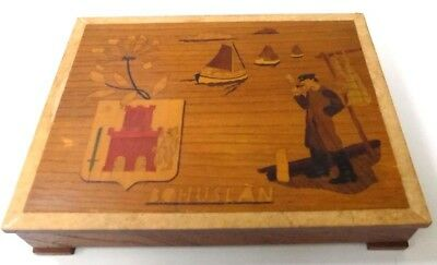 Vintage Wood Marquetry Box  Bohuslan Sweden Coat of Arms, Boats, Fisherman