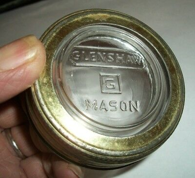 Vintage GLENSHAW MASON GLASS LID Insert with Proper RING--Square G--Rare