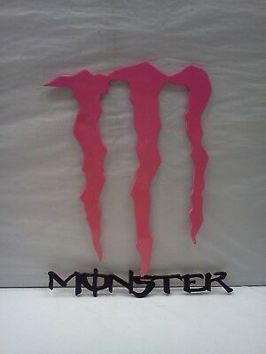 """Monster Energy Drink Pink and Black Metal Sign! Rare! 10 1/2"""" tall x 8 3/4"""" wide"""