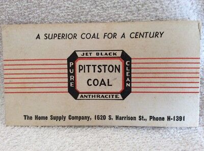 Vintage PITTSTON COAL Pure Clean Jet Black Ink Blotter Home Supply Company