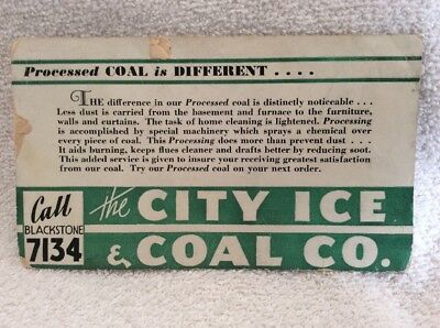 Vintage INK BLOTTER COAL The City Ice And Coal Company