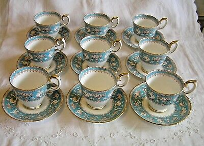 Crown Staffordshire ELLESMERE Turqouise & Gold Demitasse Cup & Saucer Set of 9