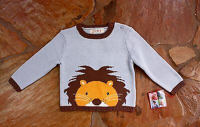 NEW Hand Knit Zubels Lion Sweater 6 mths Boys Blue Brown RV$32
