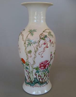 Antique Chinese Famille Rose Porcelain Baluster Vase Peony Flowers Red Seal Mark