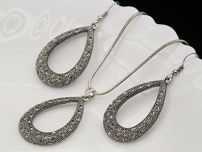 unique gray crystal teardrop pendant silver plated necklace dangle earrings S48