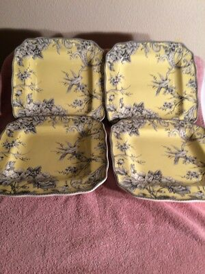 (4)  222 Fifth Dinner Plates--Adelaide--Fine China--Yellow / Gray-Free Ship--Euc
