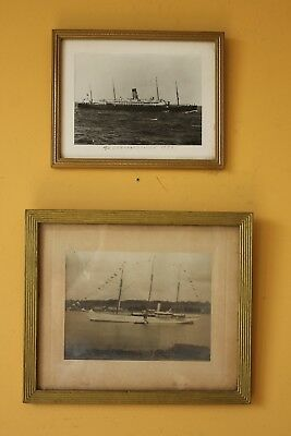 Pair of antique & vintage boat photos. Yacht's, ships. Nautical.