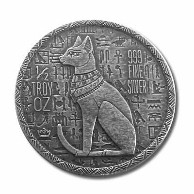 Old World Style Egyptian Series Cat Goddess Bastet 1/2 oz Silver Antiqued Round