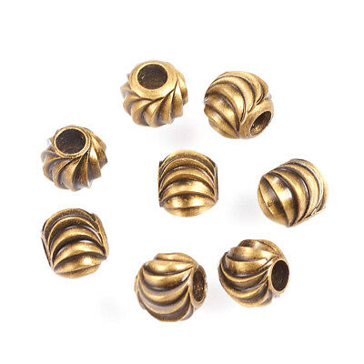 100pcs Antique Bronze Brass Carved Metal Beads Rondelle Tiny Loose Spacers 4mm