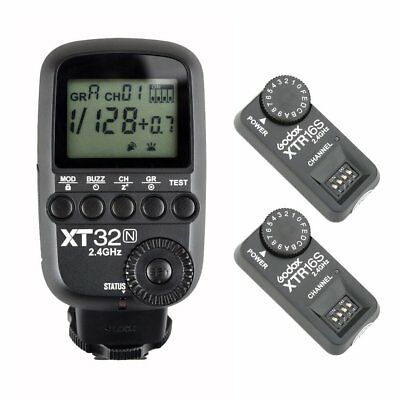 Godox XT32N 2.4G HSS Flash Trigger Transmitter for Nikon + 2PCS XTR-16S Receiver