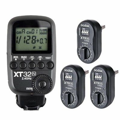 Godox XT32N 2.4G HSS Flash Trigger Transmitter for Nikon + 3PCS XTR-16 Receiver