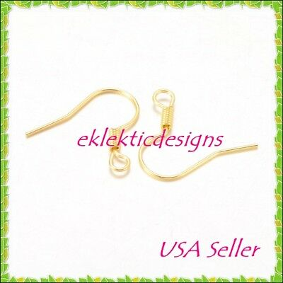 100pc 18mm Gold Plated Hook French Fish Wire Coil Earrings Jewelry Findings 50pr