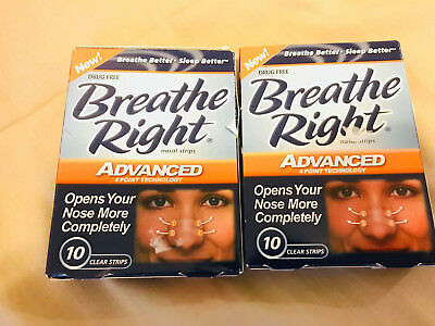 2 Packs of Breathe Right Advanced 10 Clear Strips - Nasal Congestion Strips - 20