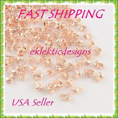 100pcs Rose Gold Clamshell End Bead Caps Tips 8x6x4mm Crimps Jewelry Findings
