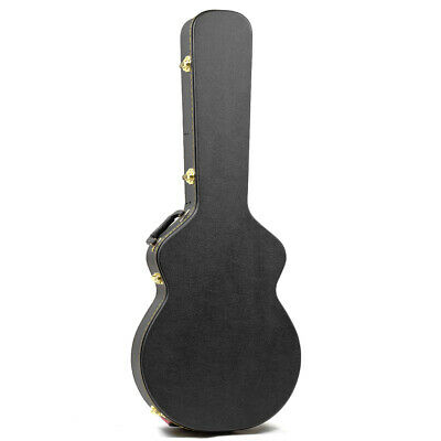 New Guardian Deluxe 335 Style Hollow Body Electric Guitar Hardshell Case, Black