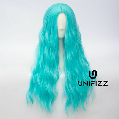 Long Curly Turquoise Party Show Fashion Women Hair Anime Cosplay Wig+Cap