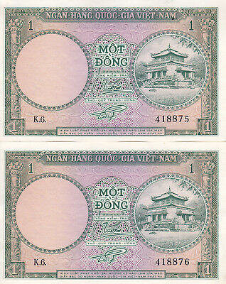 SOUTH VIETNAM 1 Dong x 2 Consecutive Nos. ND1956 UNCIRCULATED HISTORICAL NOTES!