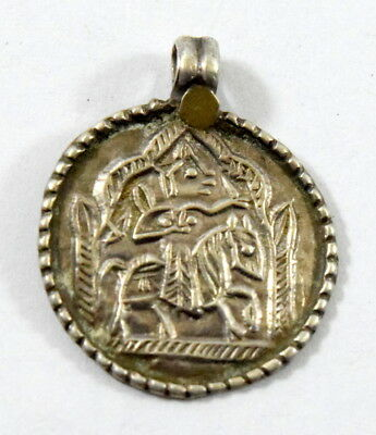 Vintage Rare Beautiful Silver Tribal Religious Hindu God Amulet Pendant. G10-79