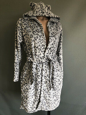 BNWOT Girls Size 9 to 10 Soft Fluffy Grey Animal Print Dressing Gown With Hood