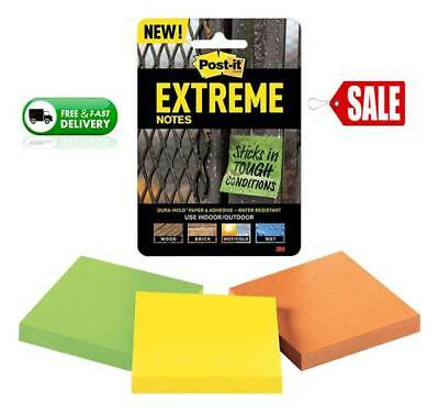 "Post-it Extreme Notes 3"" x 3"" 3 Pads 45 Sheets Per Pad  3 colors Water Resistant"