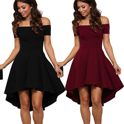 US Sexy Womens Ladies Off Shoulder 4 Colors All The Rage Skater Party Club Dress