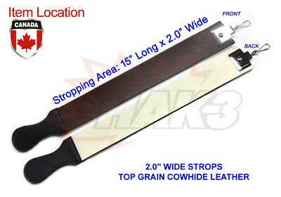 """2.0""""  2.0 Inch Wide Cowhide Leather Strop Straight Razor Knife Sharpening"""
