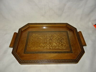 Attractive Antique Inlaid Tunbridge Ware Style Wooden Serving Tray