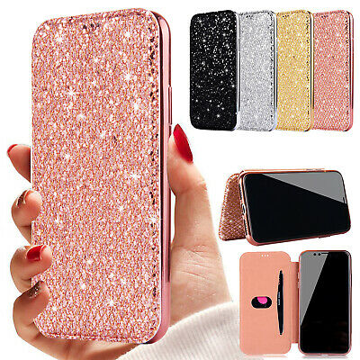 Bling Flip Leather Card Holder Clear Soft TPU Case Cover For iPhone XS Max 6 7 8