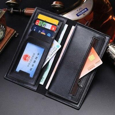 Business Men's Long Casual Leather Black Wallet Pockets Card Clutch Bifold Purse