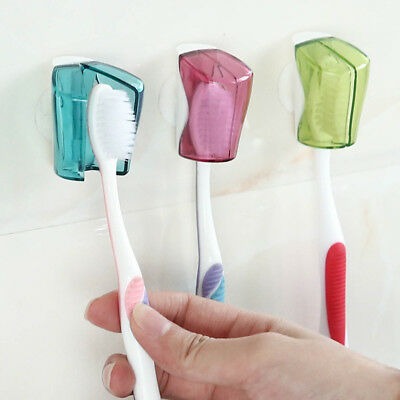 3Pcs Bathroom Toothbrush Holder Rack Dustproof Cap Cover Wall Suction Cup Eager