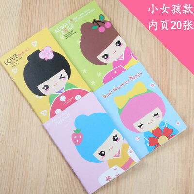 4pk Cute Japanese Girl Mini Notebooks Lined Note Books Small Notepads Memo Pads