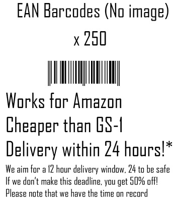 250 x EAN Barcode - Text only - Sent within 24 hours (We'll aim for within 12!)