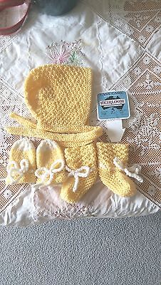 Baby Set Bonnet Booties & Mittens - Yellow - Pure Wool -  Hand Knitted