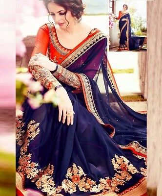 INDIAN Traditional Embroidered Bollywood Chiffon Saree BlUE Color Sari 103