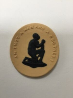 Wedgwood Anti Slavery Jasper Medallion. Am I Not A Man And A Brother?Cane yellow
