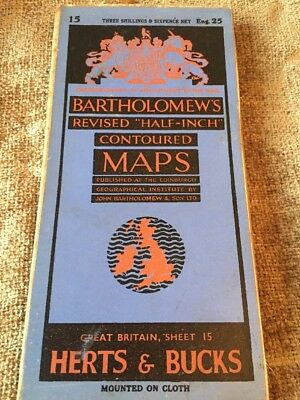 Bartholomew Cloth Map Of Hertfordshire And Buckinghamshire Antique