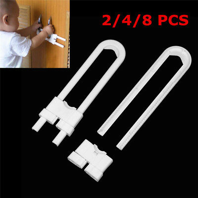 8x Kids Child Baby Proofing Safety U Shape Lock Door Cupboard Cabinet Drawer Pet