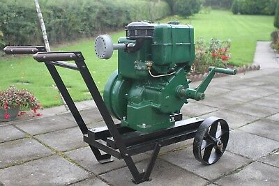 Lister LD1 diesel stationary engine vintage with crank handle on trolley