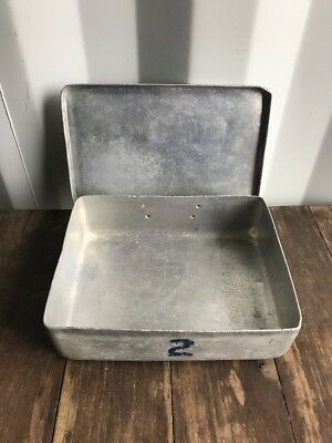 Vintage Small Rectangle Galvanised 1940's Feeder ,kitchen Bowl ,Retro Military