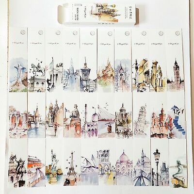 30pc World Famous Landmarks Cute Paper Bookmarks For Books Markers Readers Gift