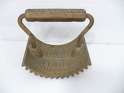 Antique Brass Geneva Hand Fluter w/ cast iron Handle
