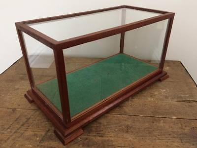 Vintage 1960s Teak & Glass Small Curiosity Display Case Cabinet Taxidermy