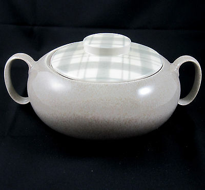 WS George Pottery Covered Casserole Gray Plaid Mid Century Modern 1.5 Quart