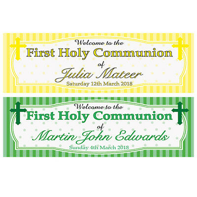 2 PERSONALISED FIRST HOLY COMMUNION BANNERS YELLOW/GREEN - 800 x 297mm 1ST HOLY